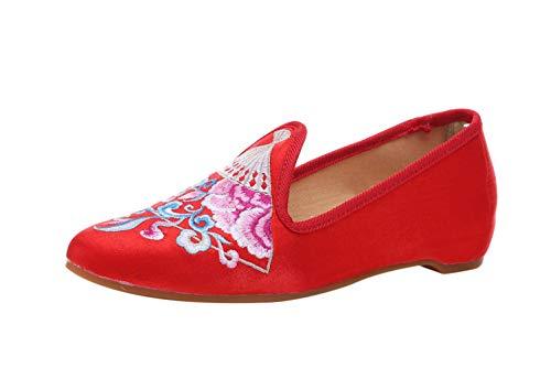 Liveinu Damen Handgemachte Gestickte Geschlossene Ballerinas Tuch Schuhe Slipper Flats Schuhe Rot 36 EU