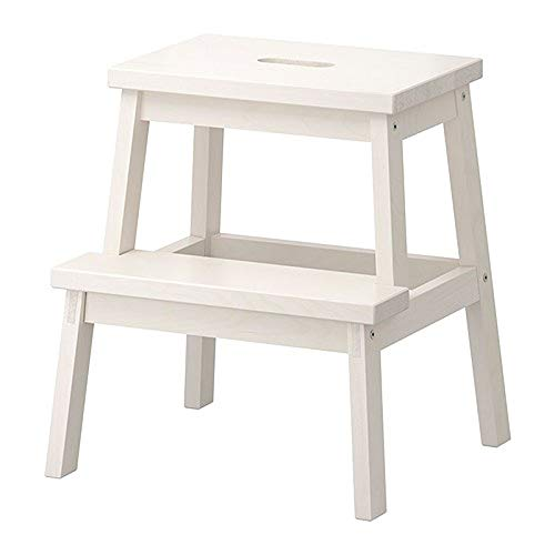 YLQC Wooden Step Stool 2 Step Ladder-19.7 Inch Height-Portable Lightweight One Ladder with Built-in Handle for Adults Seniors Kids to Use at Home Bathroom Kitchen,220 Lbs (100kg)