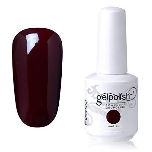 Elite99 Smalto Semipermente per Unghie in Gel UV LED Smalti per Unghie Soak Off per Manicure Rosso Scuro 15ML - 1336