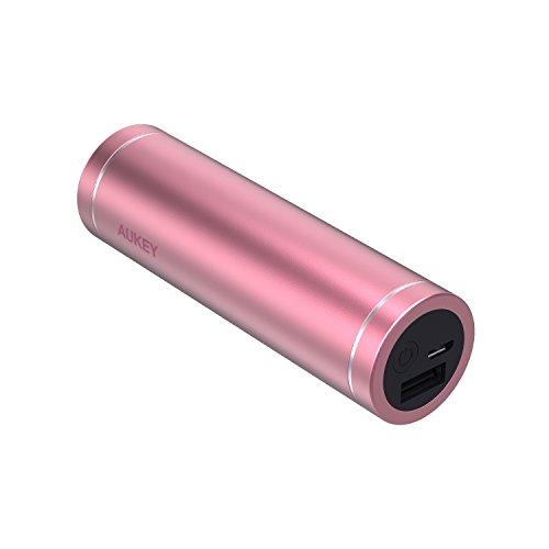 AUKEY Mini Powerbank 5000mAh, Externer Akku mit Ausgang 5V/2A für iPhoneX/8/Plus/7/ 6s,SamsungS8+/S8,iPad, Tablets (Rosa)