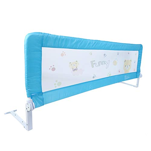 150cm/180cm Barandilla de La Cama Guardia de Seguridad para Ni?os, Barandilla Plegable de La Cama Infantil (Azul, 180cm)