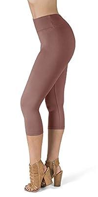 SATINA High Waisted Super Soft Capri Leggings - 20 Colors - Reg & Plus Size (One Size, Old Rose)