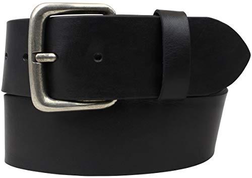Jeansgürtel aus Vollrindleder 5,0 cm | Leder-Gürtel für Damen Herren 50mm | Breiter Ledergürtel aus echtem Leder | Schwarz 85cm