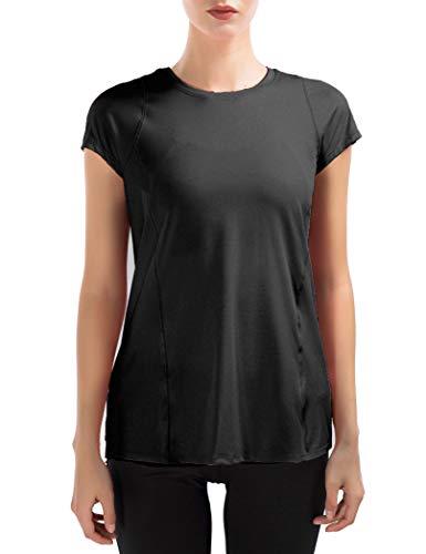 S, Cameo Brown icyzone T-Shirt Girocollo Magliette Sportivo da Donna