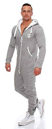 Gennadi Hoppe Herren Jumpsuit Onesie Jogger Einteiler Overall Jogging Anzug Trainingsanzug Slim Fit,hell grau,Large