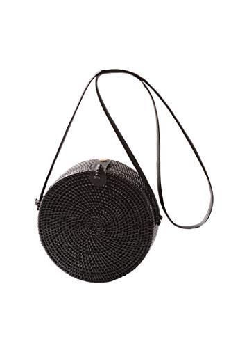 Howoo Damen Rund Handgefertigt Rattan Tasche Kreis Handgewebt Stroh Tasche Korb Sommer-Strandtasche Schultertasche Umhängetasche schwarz