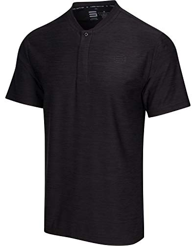 Three Sixty Six Collarless Golf Shirts for Men  Quick Dry Short Sleeve TShirt with 4Way Stretch Fabric amp UPF 30 Pure Black