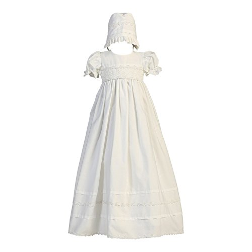 Girls Cotton Christening Gown Dresses with Bonnet Set - Baby or Infant Girl's Christening Dress, White, 12-18 Months