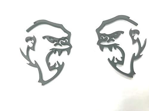 Auggies D-S2AM-MB Pair 2 Custom Hellcat Monkey Super Angry Demon Gorilla Fender Side Emblem Badges For Challenger Charger Gift (Matte Black)