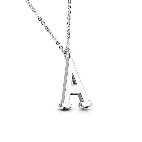 Bungsa® Buchstabe A Halskette Silber - Buchstaben-ANHÄNGER A Kette - Alphabet Kette für Frauen & Männer - aus Edelstahl - Schmuck für Jungen & Mädchen