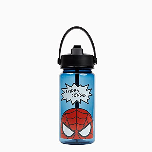 Yoobi x Marvel Spider-Man Water Bottle – 20 oz/ 600ml Superhero Water Bottle w/ Spill-Proof Lid Straw – Dishwasher Safe Adult Water Bottle, Kids Water Bottle – BPA & PVC-Free Leak Proof Water Bottles