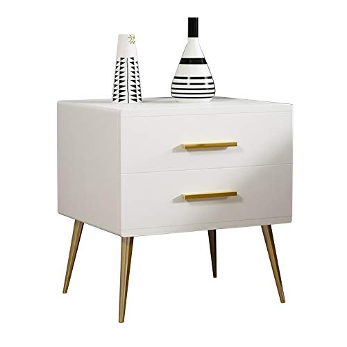 Wooden Nightstand Table Bedside Cabinet Furniture Side Cabinet with 2-Tier Storage Drawer Metal Handle and Leg (Color : White)