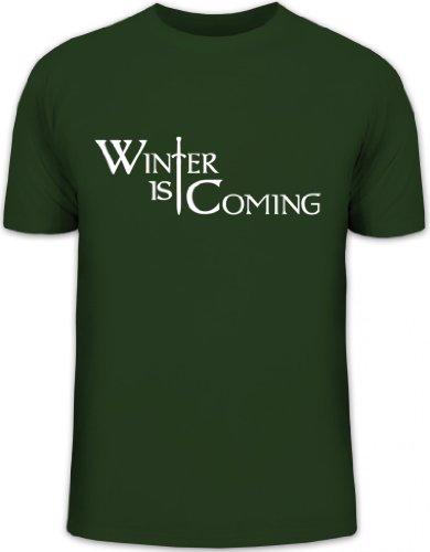 Shirtstreet24, Schwert Winter is Coming, Game of Thrones Funshirt, Größe: XL, dunkelgrün