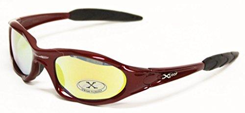 X-Loop Occhiali da Sole di Sport 0101 per Lo Sport Attivo, Pesca, Ciclismo, Golf, Kayak - Sceglie Il Colore (, Riflettente) 3 riflessivo Rosso