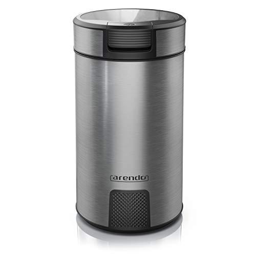 Arendo - Kaffeemühle Edelstah - Push Button - Edelstahlmesser - für Kaffeebohnen Gewürze Getreide - cool grey