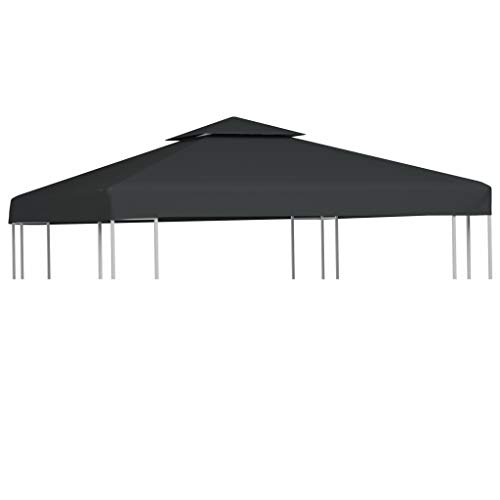 vidaXL Gazebo Cover Replacement 310g/m? Dark Grey 3x3m Waterproof Canopy Top