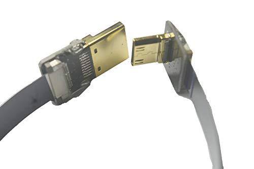 Slank plat dun FFC HDMIFPV FFC Flat HDMI Kabel Mini HDMI male 90 graden schuin naar Standaard HDMI male voor Canon 5D3 5D2 Panasonic lumix GH3 GH2 Sony Nex 5N 5T 5R 7N DJI zwart 20cm