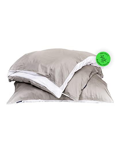 Bedtime Juego de ropa de cama de bambú, funda nórdica de 155 x 220 cm y 2 fundas de almohada de 80 x 80 cm, color topo/blanco, ropa de cama transpirable