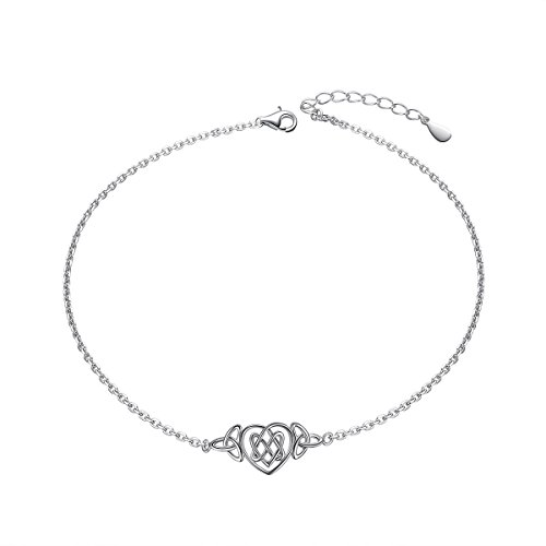 Heart Celtic Knot Anklet for Women S925 Sterling Silver Adjustable Ankle Foot bracelet 10 Inch