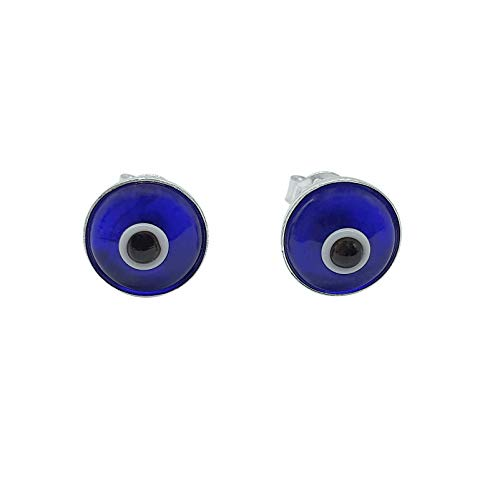 MYSTIC JEWELS By Dalia - Orecchini a forma di occhio turco, in argento Sterling 925 e Argento (Blu navy)