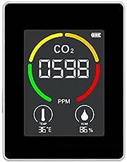 CO2 Monitor, JKKJ 3 in 1 Kooldioxide Detector Temperatuur Vochtigheid Luchtkwaliteit Monitor Meter, 3,5 Inch Digitaal LCD-scherm/0-1000 PPM/24 uur real-time monitoring