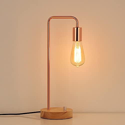 LIANTRAL Vintage Industrial Table Lamp with Wooden Base, Metal Stylish Bedside Lamp for Bedroom, Girls Room, Kids Room, Office - Rose Gold