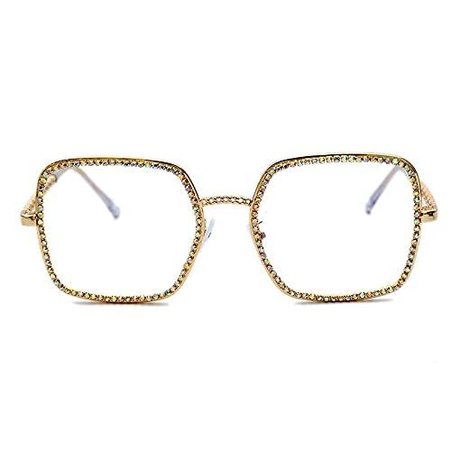 AMFG Gafas De Sol De Marco Cuadrado Grande Con Personalidad Única Y Gafas De Gafas De Diamantes De Imitación De Moda (Color : D)