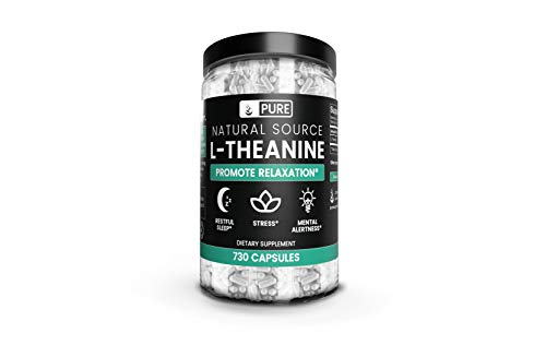 L-Theanine (730 Capsules) Pure, Extra Strength & Gluten-Free, Made in USA, for Stress & Calm (710 mg Serving)