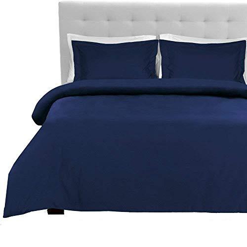 AZCOLLTECTION - Juego de sábanas de 1000 Hilos, 4 Unidades, 100% algodón Egipcio, algodón, Azul Marino, UK Double