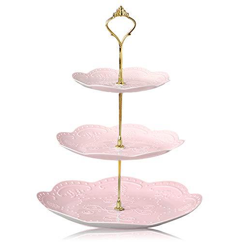 Elinala Alzata per Dolci, Supporto per Cupcake, Espositore per Feste in Plastica Multifunzionale Rimovibile a 3 Livelli per Dessert, Cupcakes, Frutta, Pane, Ecc (Rosa)
