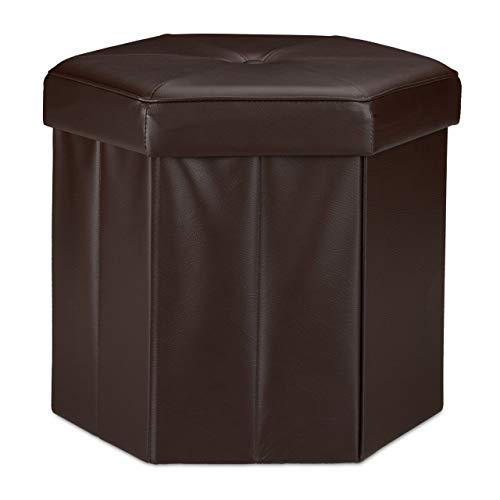 Relaxdays Tabouret de rangement pliant pouf avec couvercle H x l x P: 38 x 42 x 42 cm coffre en similicuir banc pliable repose-pieds, brun