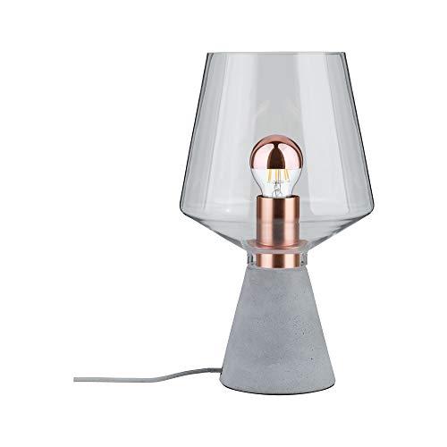 Paulmann 79665 Neordic Yorik Tischleuchte max. 1x20W Tischlampe für E27 Lampen Nachttischlampe Klar/Grau/Kupfer Glas/Beton/Metall ohne Leuchtmittel