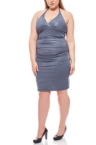 Ashley Brooke Neckholderkleid Knielang Cocktailkleid Partykleid Große Größen Grau, Größenauswahl:46