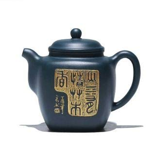 Black earthenware teapot with golden pattern 330 ml