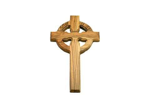 Celtic Cross | St. Patrick's | Gaelic Olive Wood Wall Hanging Cross | Handcrafted in the Holyland (6') } Lord Jesus Prayer Card