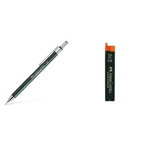 Faber-Castell 9719 - Portaminas + 120900 - Paquete de 12 minas de 0.9 mm HB