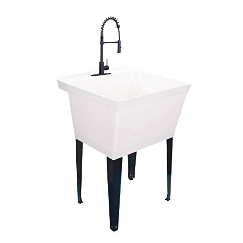 Utility Sink Extra-Deep Laundry Tub in White with High-Arc Coil Pull-Down Sprayer Faucet in Matte Black, Integrated Supply Lines, P-Trap Kit, Heavy Duty Floor Mounted Freestanding Wash Station