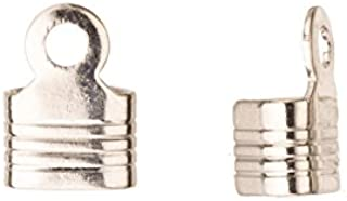 10mm Platinum-Finished Line Textured Square Fold-Over Cord End Fit Up To 5mm Cord sold per pack of 50