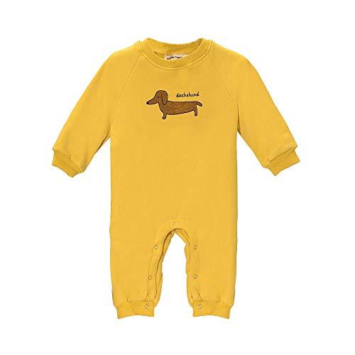 Baby Mood Mono estampado de perro en la parte delantera, 100% forro polar. amarillo 6-9 meses