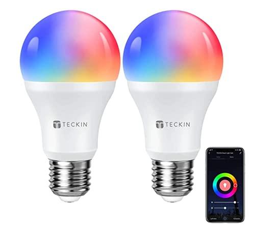 Bombilla LED Inteligente WiFi Luces Cálidas RGB 2800k-6200k Ajustable y Lámpara E27 Multicolor Funciona con Alexa, Google Home, Equivale 7.5W, 2 Paquete