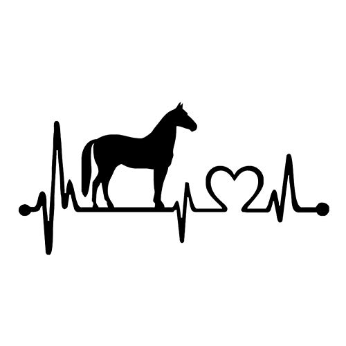 GQQ autosticker, 20,5 x 9,9 cm, modieus paard hartslag, decoratieve autosticker, dieren, autostickers, zwart/splitter, 2 stuks zwart