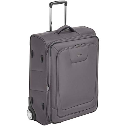 Amazon Basics Softside Rolling Luggage Suitcase With TSA Lock And Wheels - 66 cm, Grey
