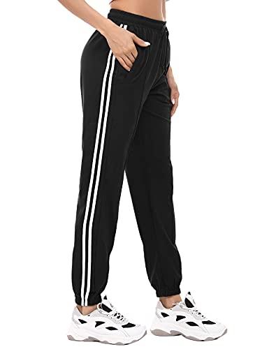 Irevial Pantalones Deportivo 100% Algodon para Mujer Verano, pantalón Chandal de Raya con Cinturilla con Goma y cordón, Sueltos Jogger Pants con Bolsillos,Pijama Largos