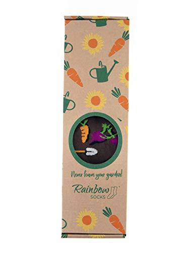 Rainbow Socks - Damen Herren Lustige Garten Socken Box Geschenk - 3 Paar - Giesskanne Karotte Sonnenblume - Größen 36-40