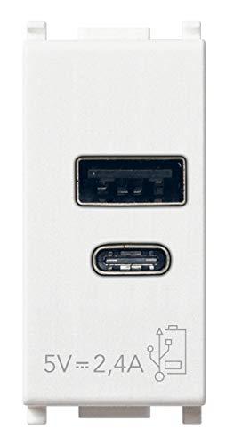 Vimar 14292.AC Plana Presa USB 5 V 2,4 A, 1 uscita USB tipo A e 1 tipo C, erogano complessivamente 2,4 A per caricare contemporaneamente due dispositivi