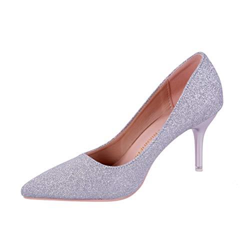ベベルクローゼット グリッター キラキラ パンプス レディース ピンヒール ハイヒール 8cm ヒール 靴 パーティー 結婚式 二次会 上品 フレンチヒール ポインテッドトゥ キャバ 銀色 23.0cm 36, シルバー