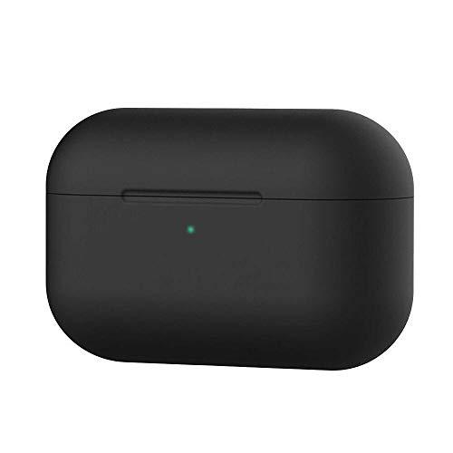 Ellenne Carcasa de silicona fina compatible con Apple Airpods Pro 2019, funda inalámbrica antiarañazos (negro)