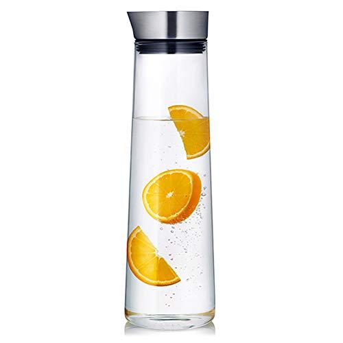 DreamyLife Jarra de Agua de Cristal de 1,5 litros - Jarra de Vidrio con Tapa de Acero Inoxidable