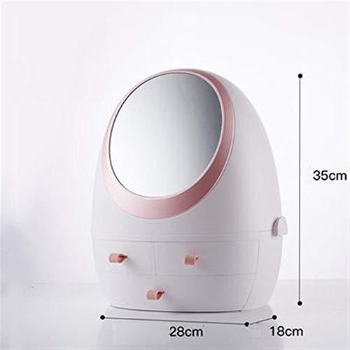 Goquik Opbergdoos met LED-spiegel, voor cosmetica/bureau, stofdicht, 28 x 18 x 35 cm