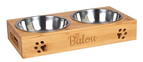 LAUBLUST Futterstation mit Name Personalisiert - Geschenk für Haustiere | Bambus - 2 Edelstahl Fressnäpfe Hund & Katze